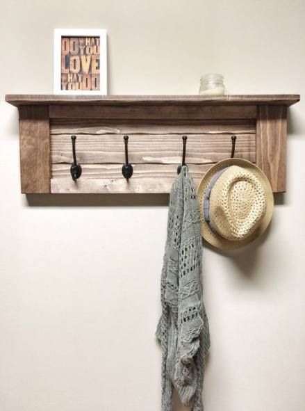 32 Ideas Apartment House Entrance Hooks House Apartment With Images Rustic Wooden Shelves Entryway Coat Rack Wooden Decor