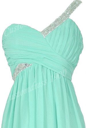 Hot Selling Short  Chiffon Pleat One-shoulder prom dresses,evening dresses bridesmaid dress