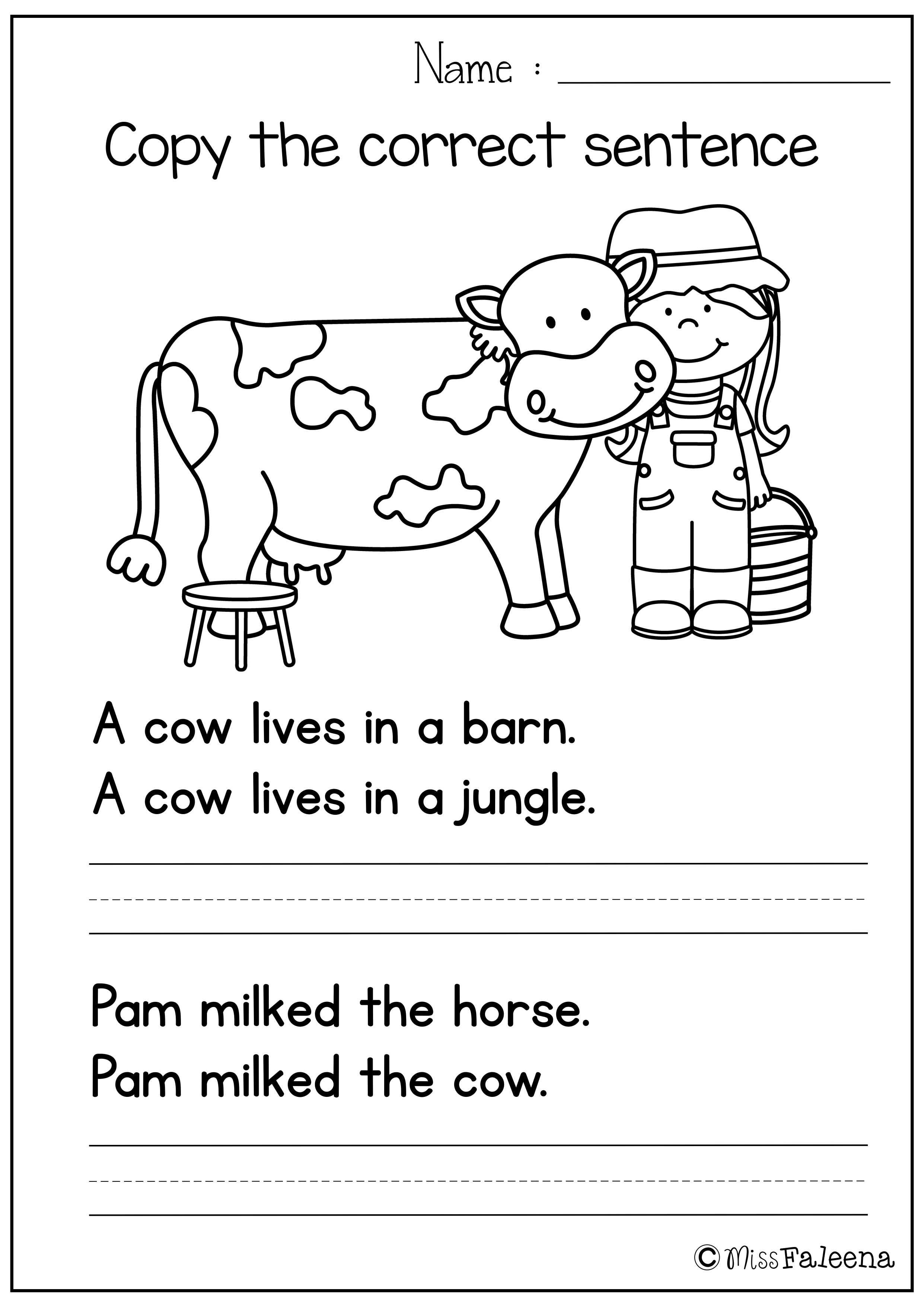 Free Sentence Writing ( copy the correct sentence)   Kindergarten writing [ 3508 x 2482 Pixel ]