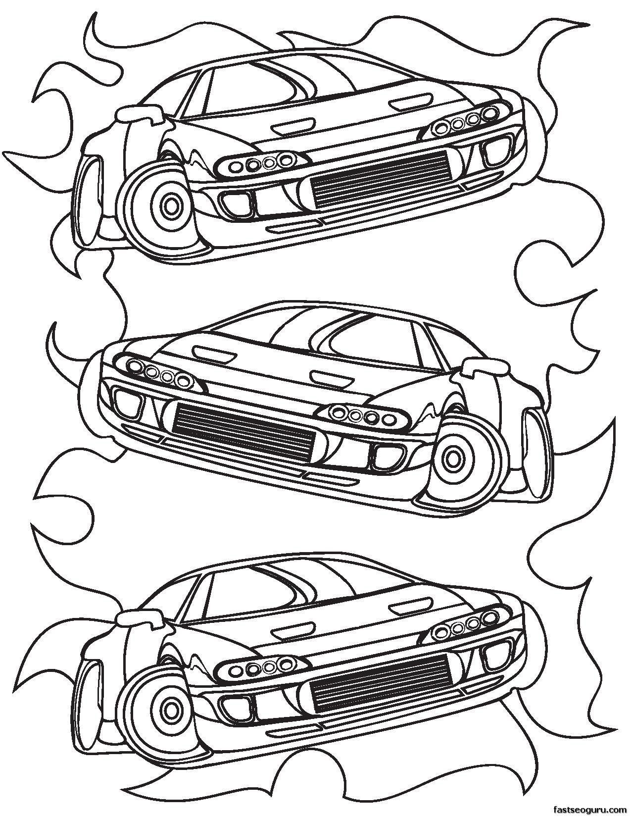 Printable For Boy Race Car Coloring Sheet 1 275 1 650