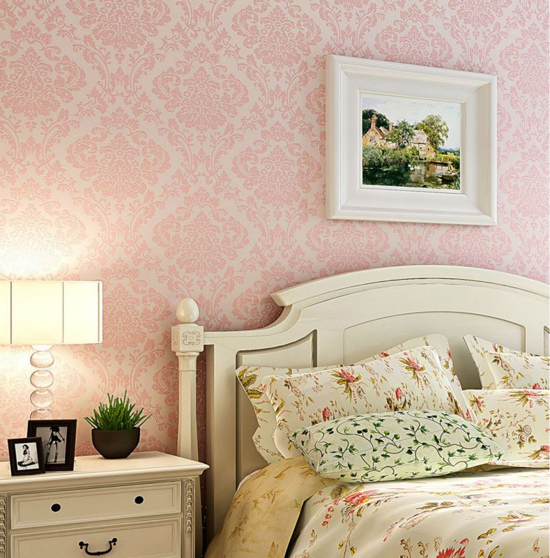 Wallpaper Bedroom Ideas: Luxury Victorian Vintage Light Pink Damask Fabric