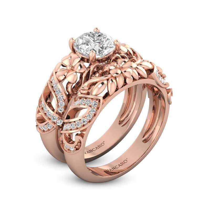 Butterfly engagement ring set rose gold vintage floral