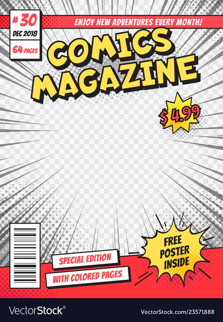 Comic Book Cover Comics Books Title Page Funny Vector Image On
