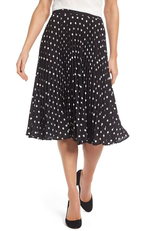 d0abc459a0 Vince Camuto Polka Dot Pleat Skirt | Wear to work | Pleated Skirt ...