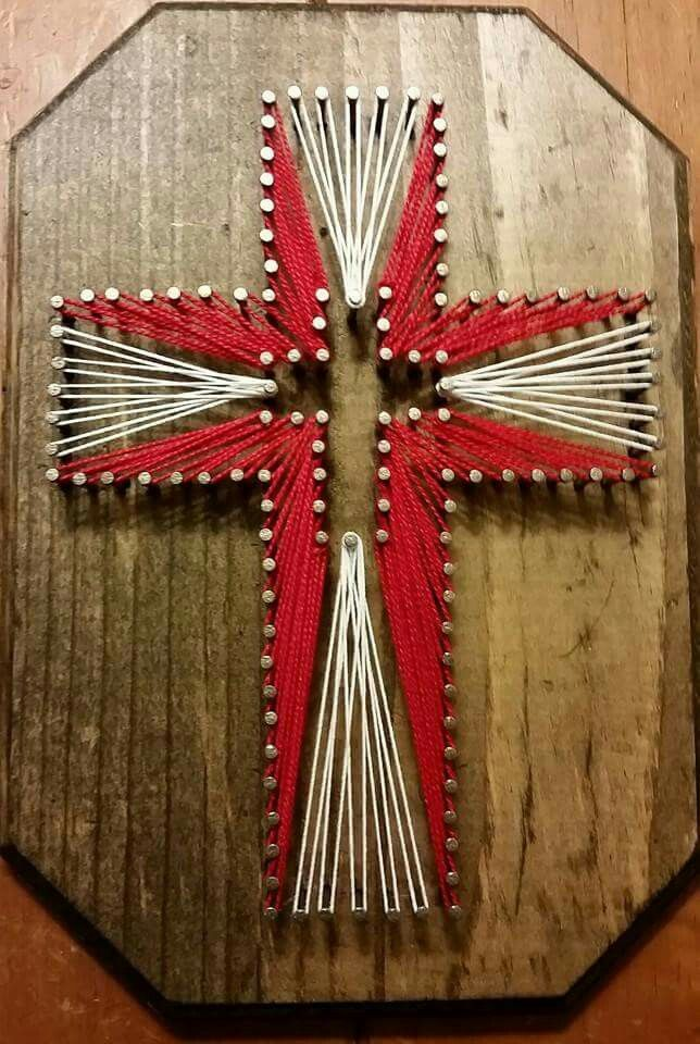 cross string art nailed it pinterest string art craft and nail string. Black Bedroom Furniture Sets. Home Design Ideas
