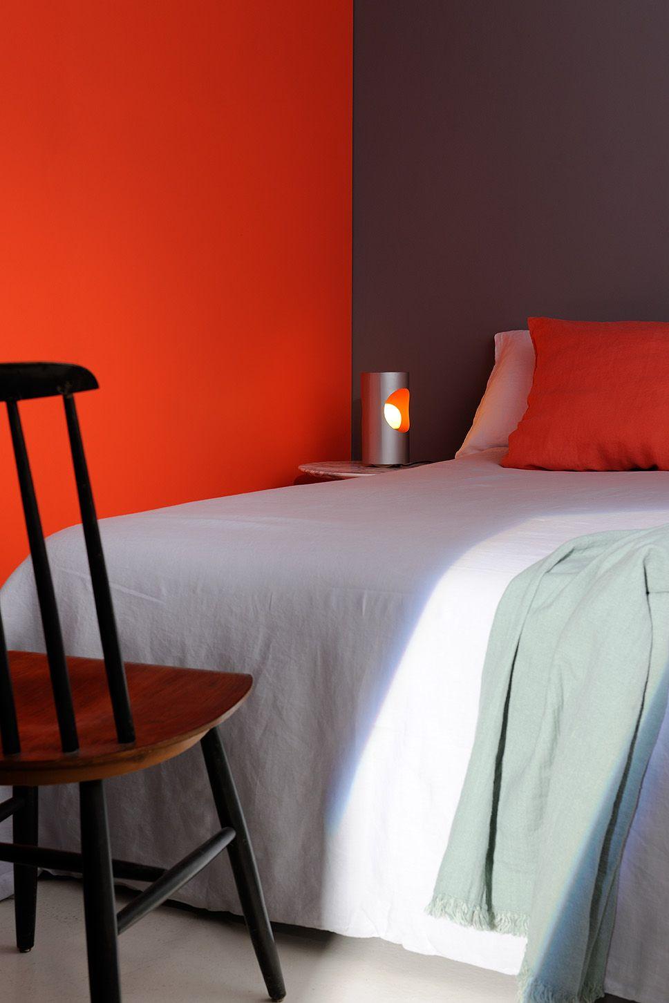 Une chambre à l\'ambiance créative #zolpan #peinture #gris #orange ...