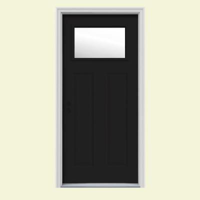 Jeld Wen 34 In X 80 In 1 Lite Craftsman Black Painted Steel Prehung Right Hand Inswing Front Door W Brickmould Thdjw167700944 The Home Depot Craftsman Front Doors Jeld Wen Front Door