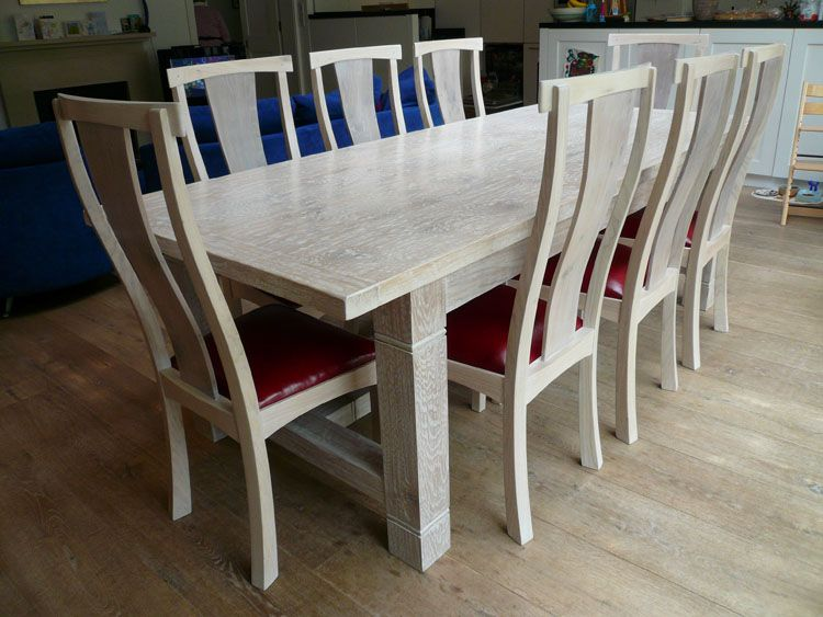 Lime Washed Handmade Oak Refectory Dining Table With Matching Chairs - Washed oak dining table and chairs