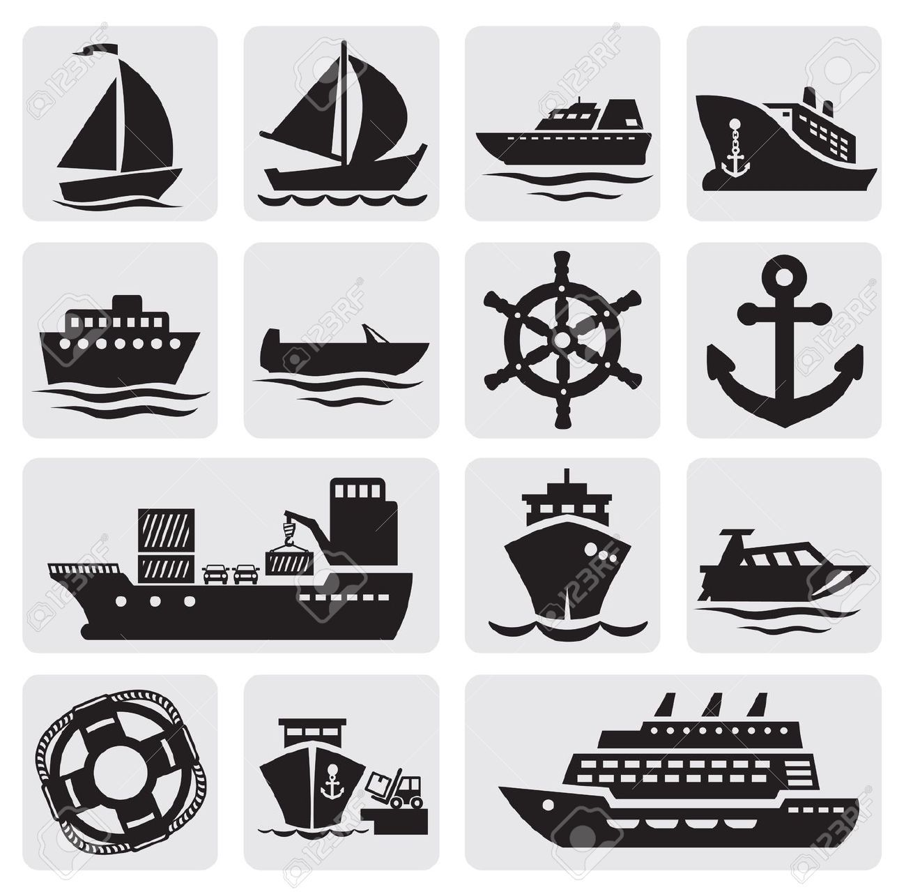 Boat And Ship Icons Set Royalty Free Cliparts, Vectors, And Stock ...