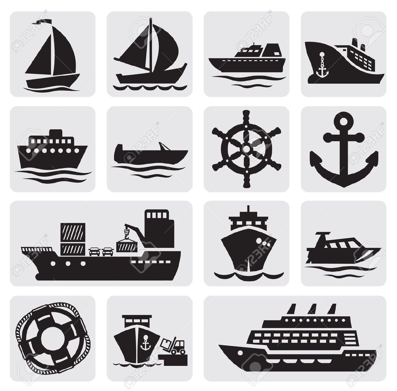 Stock Vector Boat icon, Ship logo, Boat illustration