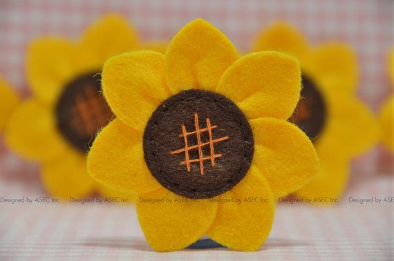 6//set Felt Sunflowers with Leaves Flower Sewing Craft DIY Accessories