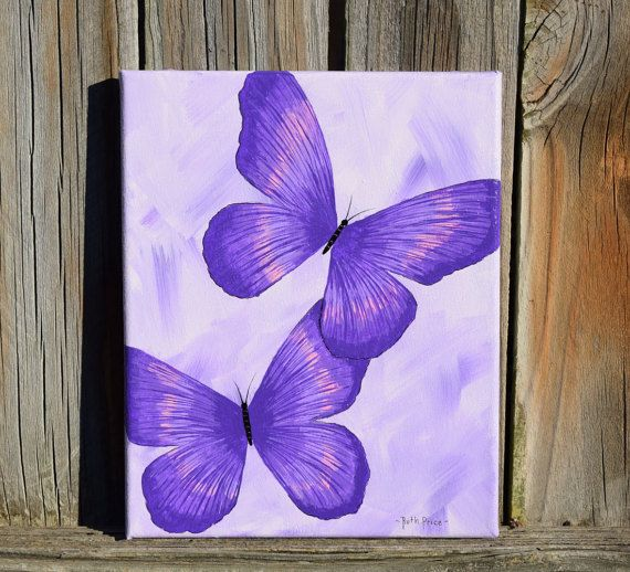 Unique Purple Butterflies Handpainted On 8x10 By Colorsbyruth Butterfly Art Painting Diy Canvas Art Purple Painting