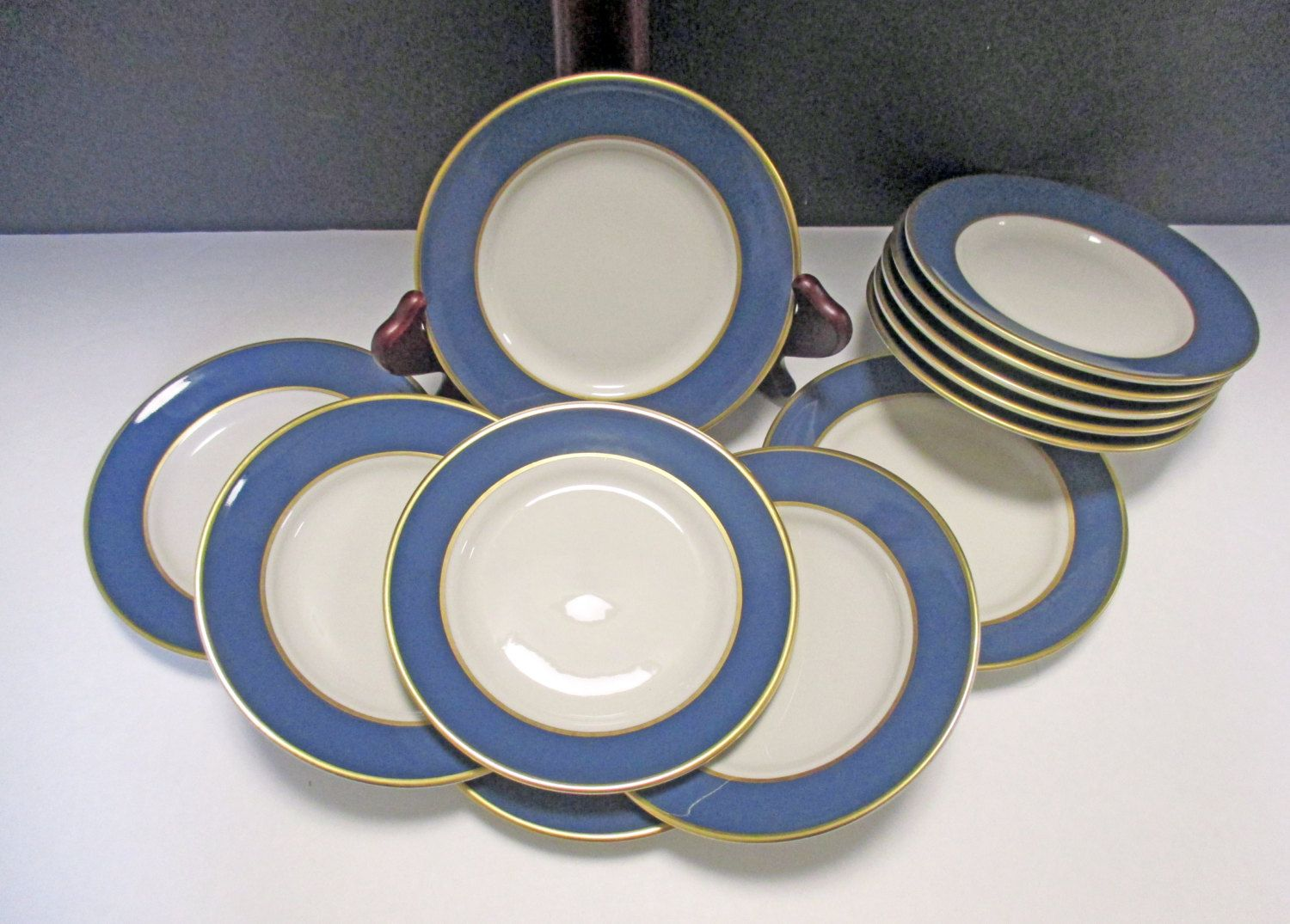 Sterling China Company Rimmed Blue Wide Band Restaurant Hotel Ware Diner Bread And Butter Plates Set Of 4 3 Sets Avail Vintage Dinnerware Plate Sets Plates