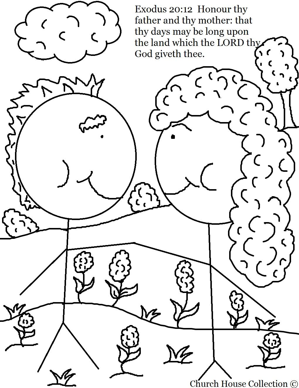 Honor Your Mother And Father Coloring Page Exodus 20 12 Sunday