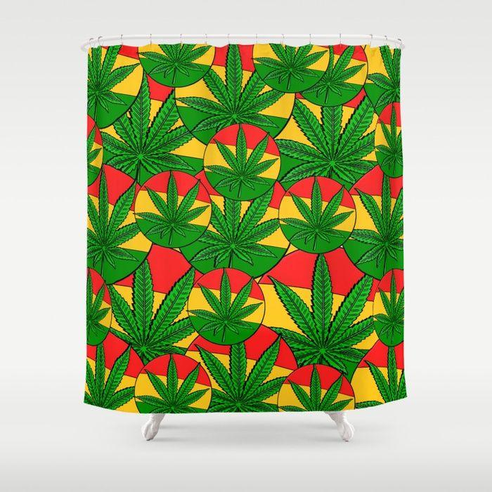 Feeling Sunny Rasta Green Ganja Stop Neglecting Bathroom Decor Our Designer Society6 Shower Curtains Bring A Fresh New Feel To An Overlo