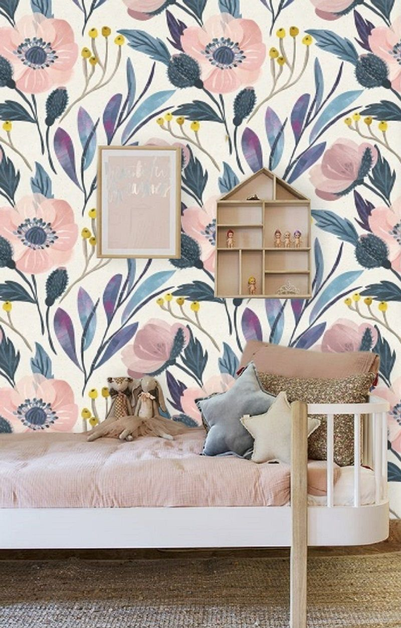 Blue Floral Wallpaper Wall Mural Removable Wallpaper Pink Poppy