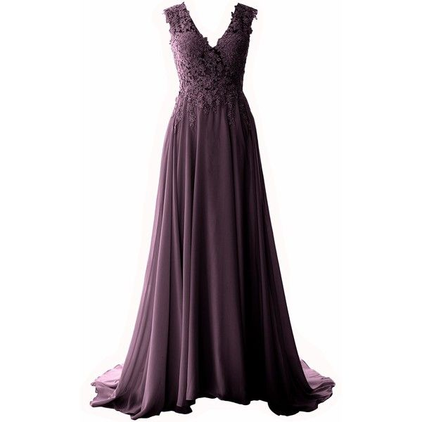MACloth Elegant V Neck Long Prom Dress Vintage Lace Chiffon Formal... ($89)  ❤ liked on Polyvore featuring dresses, gowns, purple prom dresses, long  purple ...