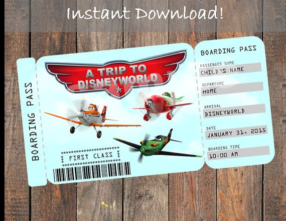 Printable Ticket to Disneyworld Customizable by KirstensKreation - fake airline ticket maker
