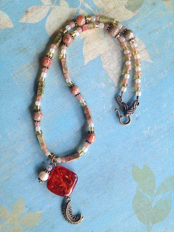 Earthy Orange Crackle Pendant Necklace, Fall Autumn Beaded Necklace