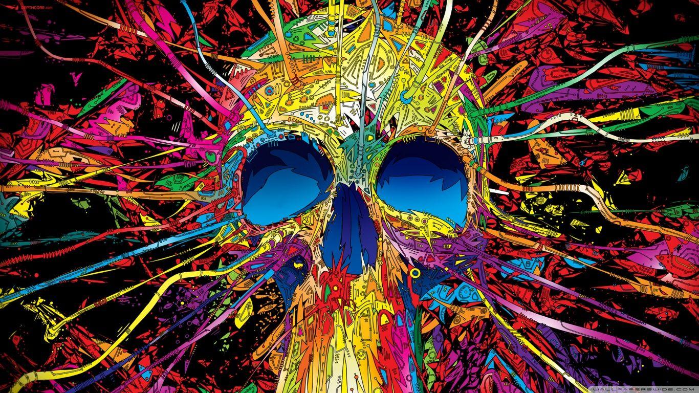 Colorful Skull Hd Desktop Wallpaper High Definition Mobile Skull Wallpaper Artistic Wallpaper Skull Art