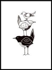 Barntavlor och barnposters med svartvita motiv. Tre fåglar i möte.