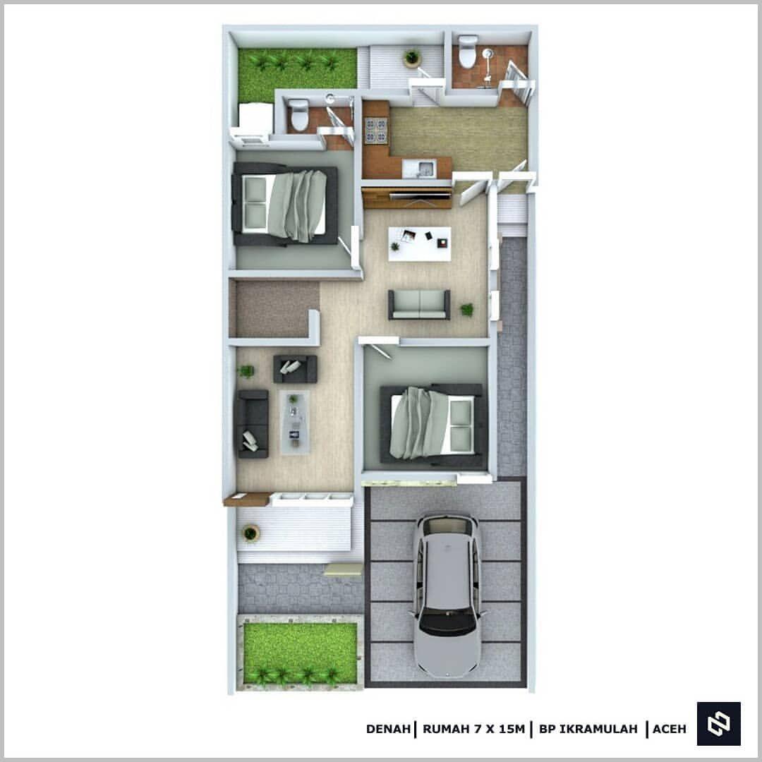 Noman Design Di Instagram Jasa Desain Rumah Mulai Rp 250 Ribu Desain Rumah Bp Ikramulah 1 Lantai Aceh Luas Lahan 6 X 15 M K House Design Design Home