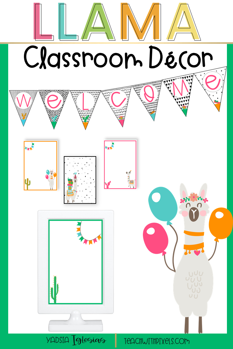 EDITABLE BRIGHT LLAMA CLASSROOM DECOR #elementaryclassroomdecor