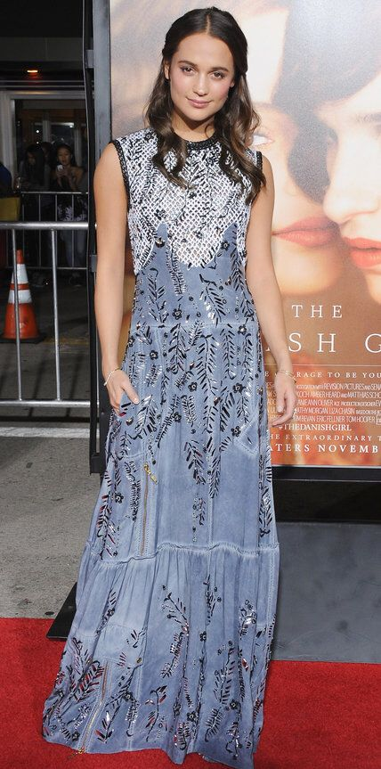 The Danish Girl actress Alicia Vikander accessorizes in EF Collection diamond Bezel bracelets.