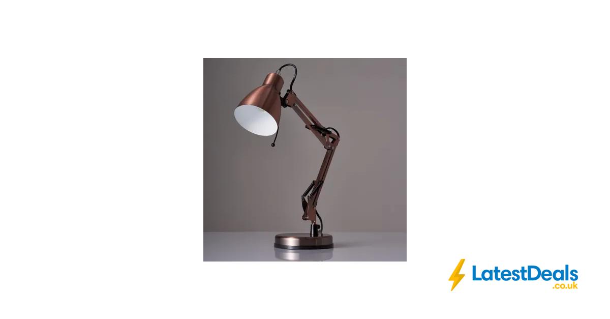 Wilko Angle Task Lamp Copper Free C, Copper Table Lamp Wilko