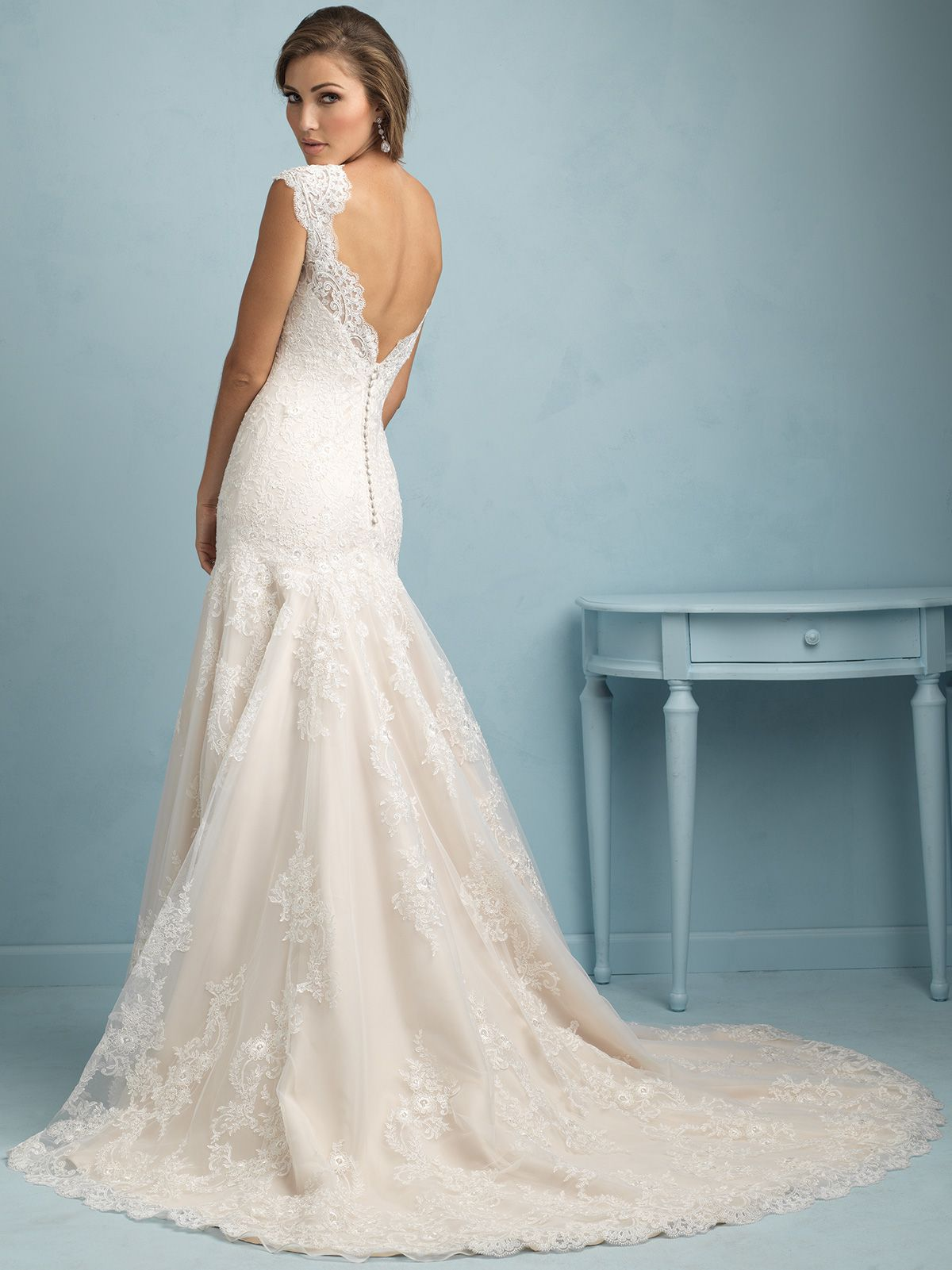 sweetheart-with-cap-sleeves-lace-fit-and-flare-allure-wedding-dress ...