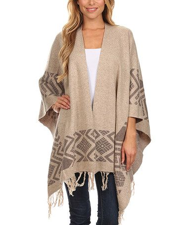 Look what I found on #zulily! Taupe Geometric Open Cardigan #zulilyfinds