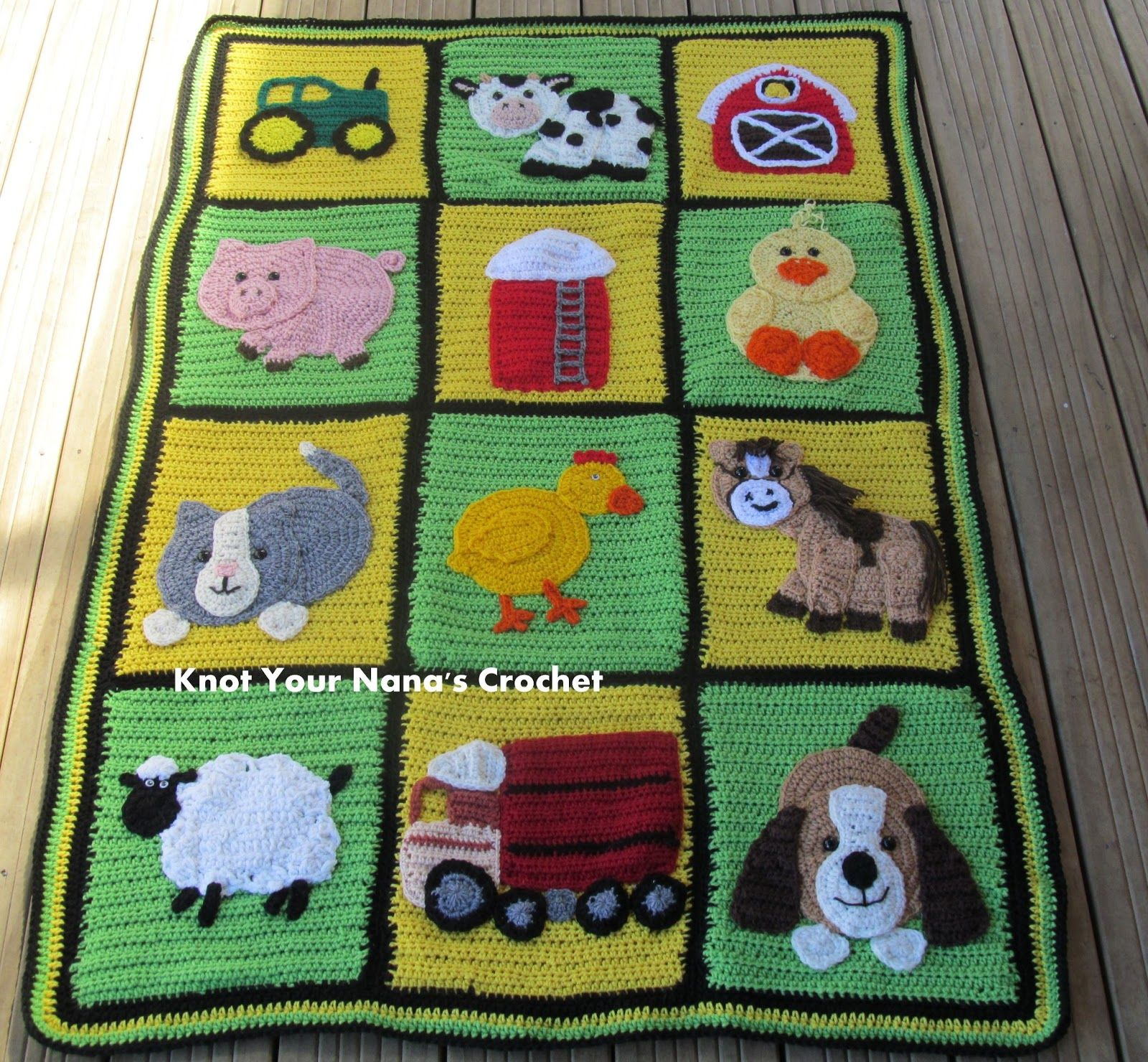 Knitting Animals From Squares : Knot your nana s crochet farm blanket main
