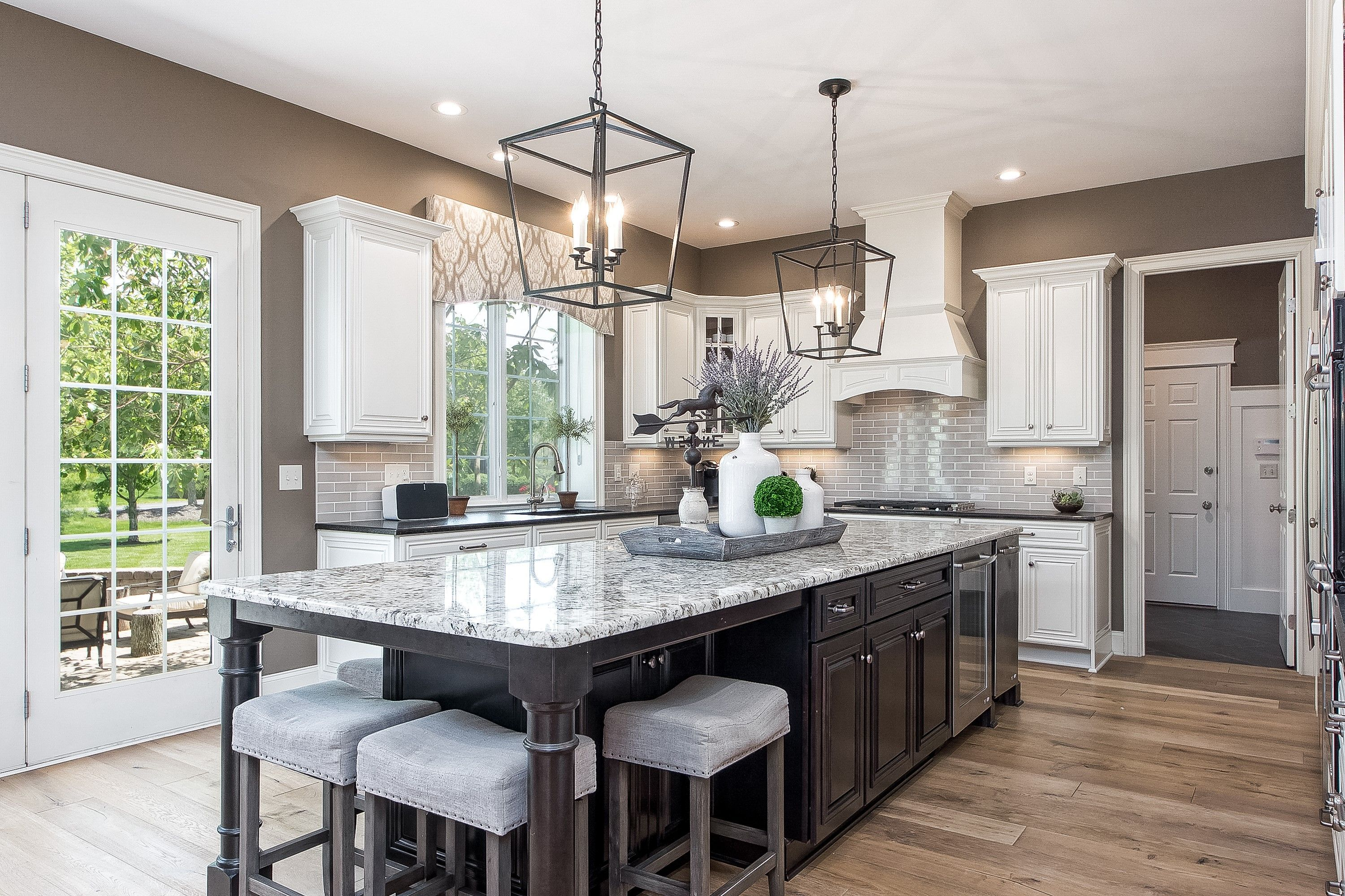 Large kitchen island, Lanterns, White kitchen, Virtual Taupe ...
