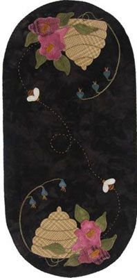 Lily Anna Stitches Bee Skep Mini Mat Wool Applique by RoosterCreek, $6.00