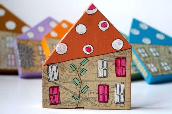 handmade mixed media houses