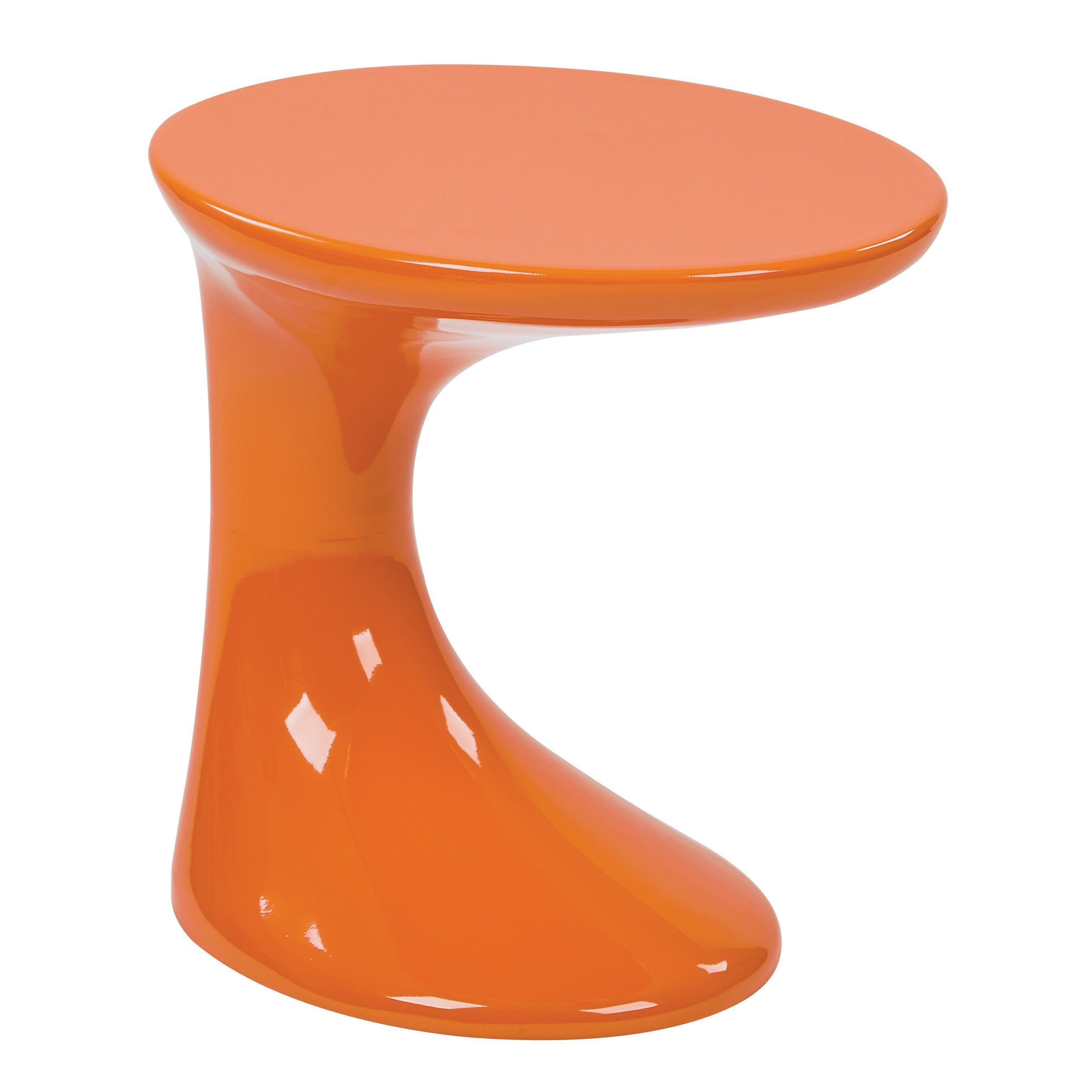 Office Star Products Ave Six Slick Side Table with High Gloss Finish (Orange)