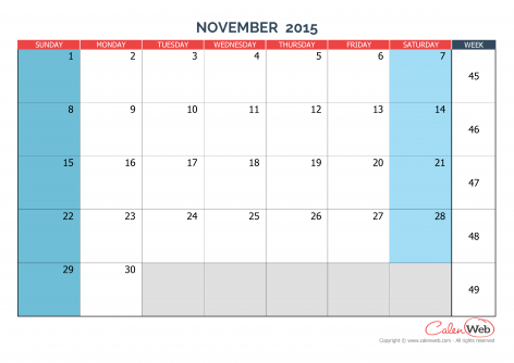 Feel Free To Download Calendar 2015 November Thanksgiving And