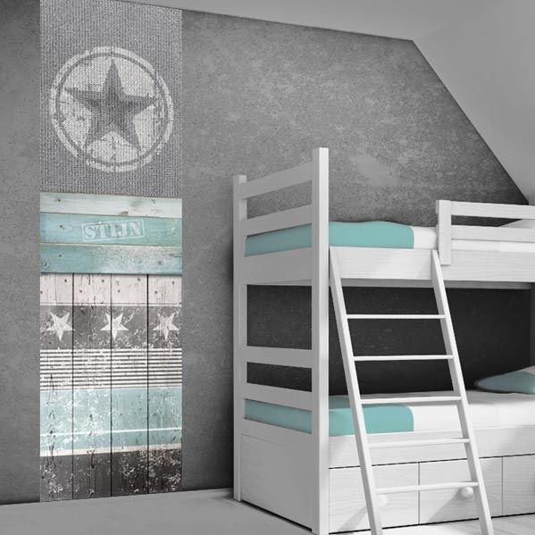 muursticker stoere ster grijs mint - zolderkamer | pinterest, Deco ideeën