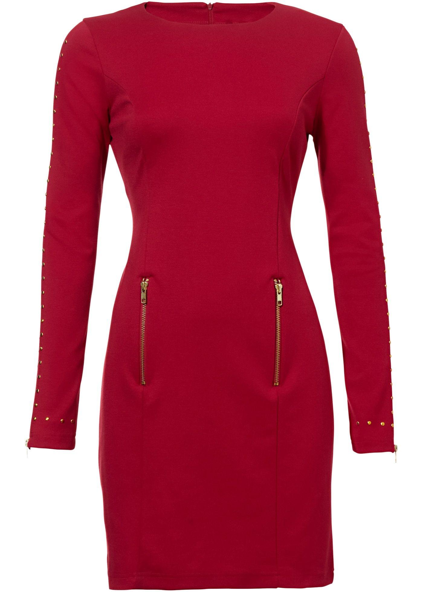 Vestido tubinho com tachas vermelho-escuro encomendar agora na loja on-line bonprix.de  R$ 179,90 a partir de Elegância clássica! Modelo com decote redondo ...