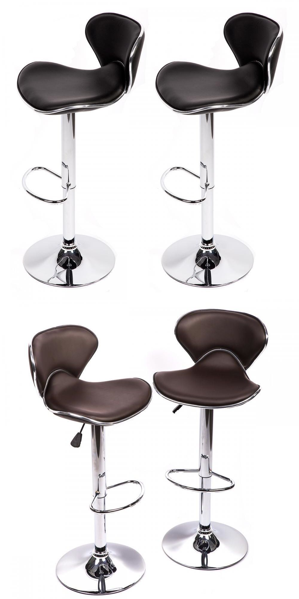 Bar Stools 153928 Set Of 2 Bar Stools Black Pu Leather Modern