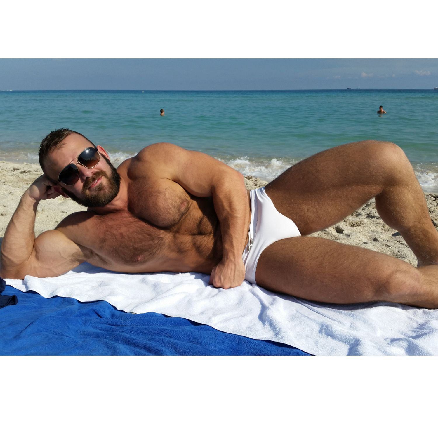 hairy mature on beach