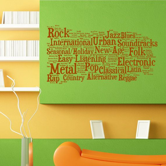 Music Musical Genres Cube Wall Sticker Vinyl Mural Decal Home House ...