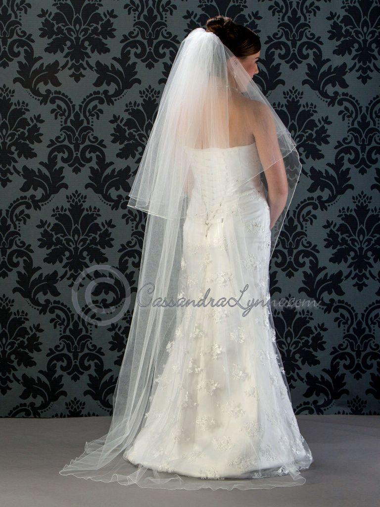 Two Tier Floor Length Wedding Veil With Corded Edge Veils Bridal