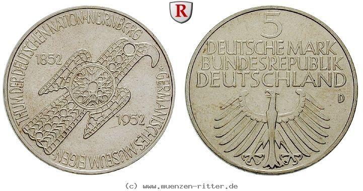 RITTER BRD, 5 DM 1952 D, Germanisches Museum, J. 388 #coins