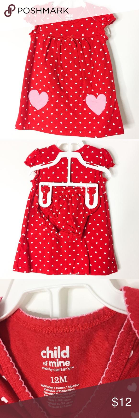Carters m baby girls red valentine dress polka dot shorts short