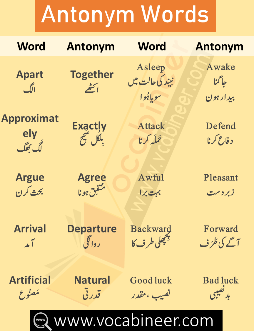Synonyms and Antonyms List with Urdu & Hindi Meanings   Learn ...