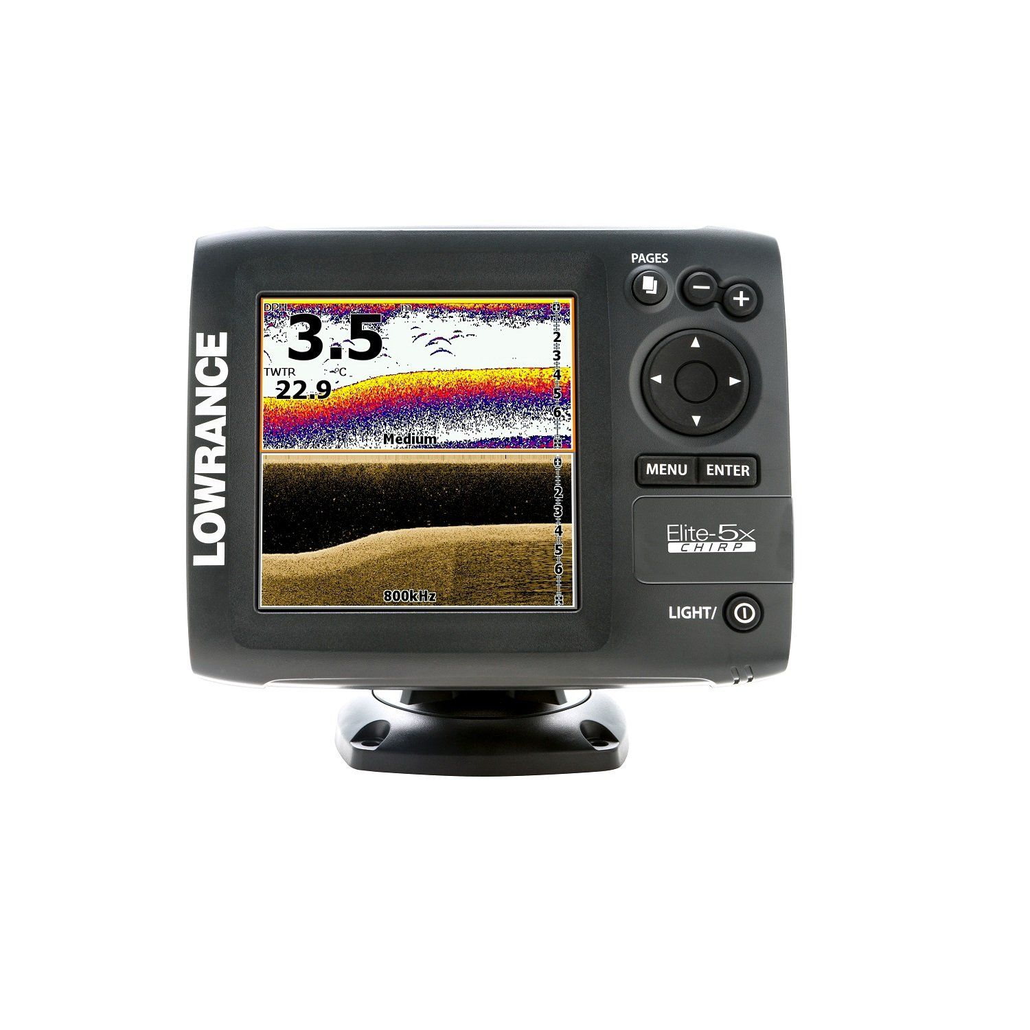 Lowrance 00011657001 Elite5X CHIRP with 83/200+455/800