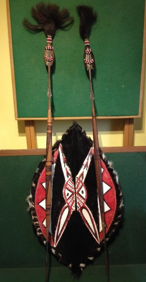 Masai Maasai African Tribal Goat Skin Shield & Two Double Ended