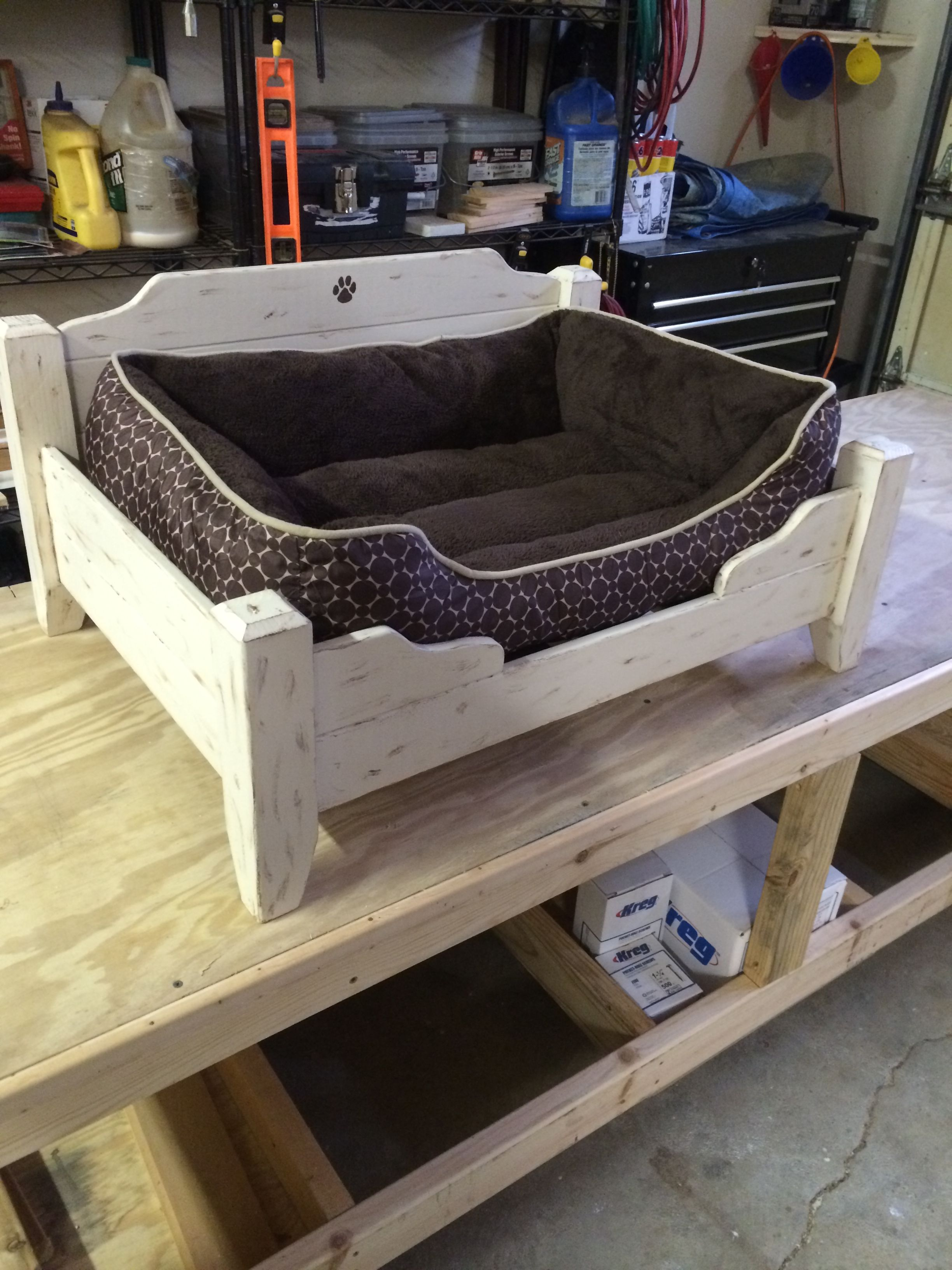 Medium Dog Bed. Paint color cream with black faux