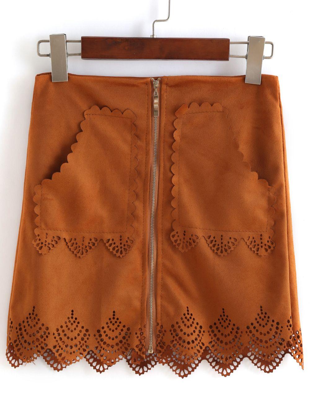 Romwe With Zipper Scalloped Hem Hollow Skirt